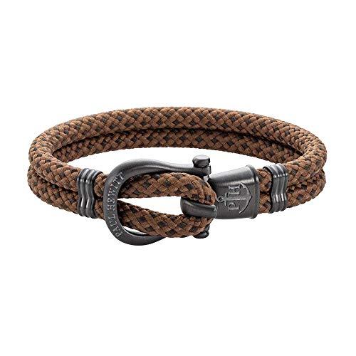 PAUL HEWITT Schäkel Armband Herren PHINITY - Nylon Armband Männer (Camel-Oliv), Armband Herren mit Schäkel Verschluss aus IP-Edelstahl (Gun Metal)