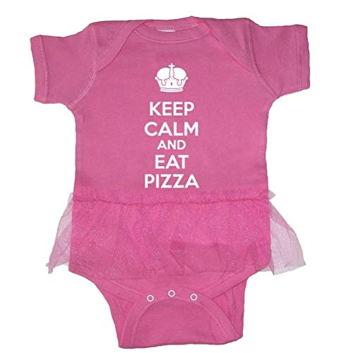 Tasty Threads Keep Calm and Eat Pizza Baby Tutu Bodysuit (Raspberry, 24 Months)
