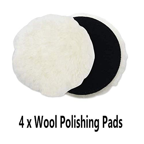 IPELY 6 Pcs 6 Inch Wool Polishing Buffing Pad Polishing Buffing Wheel for Drill Buffer Attachment with M14 Drill Adapter