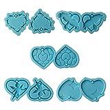 TuoXie 5 piezas de moldes de resina epoxi con forma de corazón y...