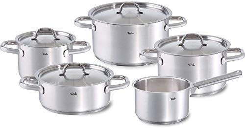 Fissler family line / Edelstahl-Topfset, 5-teilig, Kochtopf-Set , Töpfe mit Deckel, spülmaschinen-geeignet, Induktion, alle Herdarten (3 Kochtöpfe, 1 Bratentopf, 1 Stielkasserolle-deckellos)