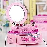 wxqym Caja de música de Forma de Pastel de cumpleaños, Caja de joyería de plástico con Soporte de Anillo de Espejo, Regalo for niña