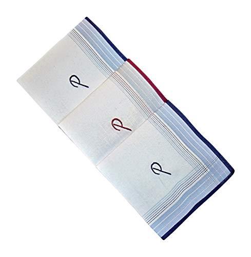 3 Stück Herren-Monogrammtaschentücher | Baumwolle mit farbiger Satinkante | Im Klarsichtkanton | In blau und wein-rot | Freie Monogrammwahl (P)