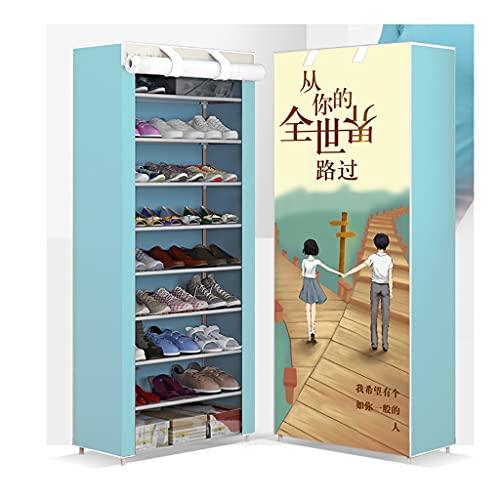 Yyqx Zapatera Rack de Zapatos 10 Capas 9 Compartimentos Gerente de Almacenamiento Single Fila Shoebox Torre de Estante con Cubierta no Tejida Cabina de Zapatos para la casa Zapatero (Color : Fetters)