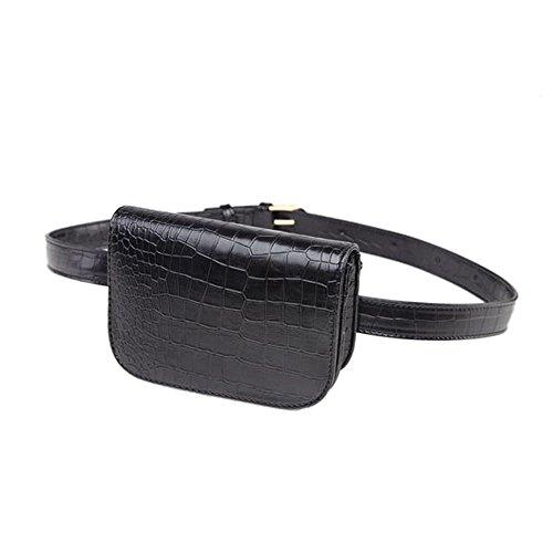 SODIAL Cintura vintage in pelle PU Borsa da donna Alligator Marsupio Cintura da viaggio Portafogli Fanny Borse Donna Nero