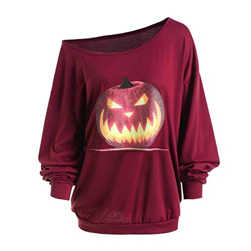 TUDUZ Damen Halloween Neuheit Kostüm Rundhals Drucken Langarm Große Größen Sweatshirt Pullover Tops Kapuzenpulli