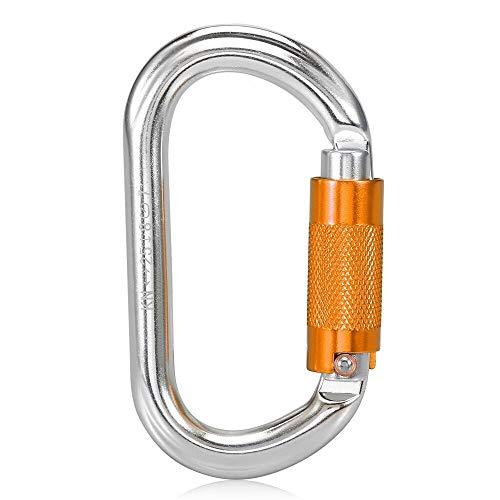 WQPY Moschettoni 25kkn Auto Blocking Gate Carabiner Heavy Duty D Shape Fibbia Pacchetto Twist Blocking Gate Carabiner Arrampicata rampicante Canyoning (Color : Orange SGM7108TN)