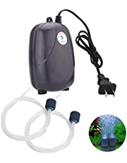Ultra Quiet Aquarium Air Pump Dual Outlet, Fish Tank Aerator Pump with Accessories,Fish Tank Oxygen AirPump With 2 Air stone/2M Silicone Tube Pump (RS390)