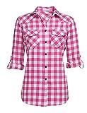 UNibelle Camisa a cuadros de manga larga para mujer, camisa de cuadros con mangas ajustables, casual, ocio, verano Rosa S/3XL