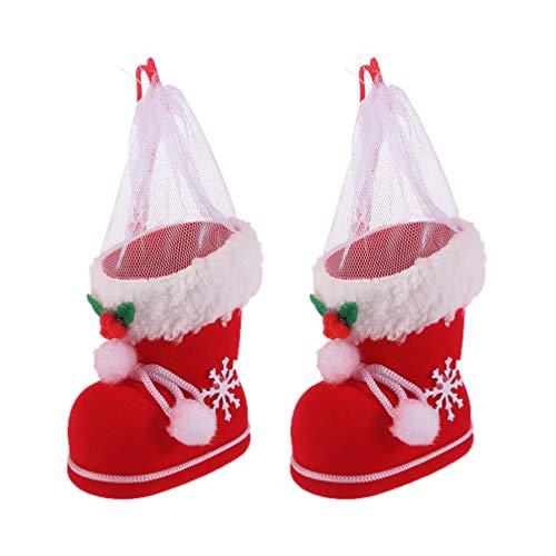 Toyvian 2 Stücke Geschenkbeutel Weihnachtsstiefel Form Nikolaussäckchen Weihnachten Säckchen Geschenksäckchen Süßigkeiten Beutel zum Befüllen Weihnachtsdeko Weihnachtsschmuck