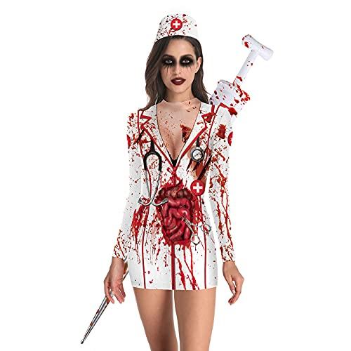 Vspera de Todos Los Santos Zombie Enfermera Vestido,Sangrienta Vspera de Todos Los Santos Fantasma Vestimenta,Mujeres Manga Larga Horror Enfermera Uniforme Asesino Traje-Enfermera funeraria L