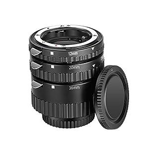 Neewer 12mm 20mm 36mm Enfoque Automático Macro Tubo Extensión Set ABS Plastics Bayonet Compatible con Nikon DSLRs D7200 D7100 D7000 D5500 D5300 D5200 D5100 D5000 D3300 D3200 D3100 D3000 D700 etc.