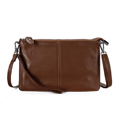 Befen Women Leather Wristlet Wallet Shoulder Crossbody Bag Clutch Purses with 6 Card Slots/Wrist Strap/Crossbody Strap - Walnut Brown