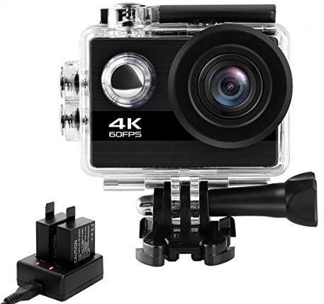 Shuainiu Action cam 【4K 60FPS 24MP 】 WiFi 170° Weitwinkel Aktionkameras Wasserdicht 30M Unterwasserkamera Ultra Full HD Sport Action Kamera mit Ladegerät 2 Akkus und Gratis Zubehör