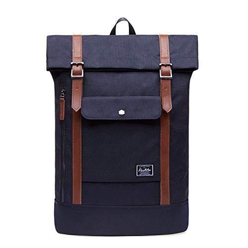 KAUKKO Rucksack Roll Top Backpack Lässiger Vintage Tagesrucksack Herren Laptop Schulrucksack fit 15