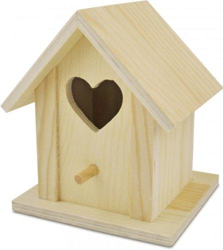 Deko Vogelhaus Herz aus Holz natur zum Bemalen, 10,5 x 10 x 12,8cm