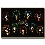 Póster de lienzo 40x50cm Sin marco Carteles Vintage Heavy Metal Kiss Band Pintura Bar Decoración para el hogar