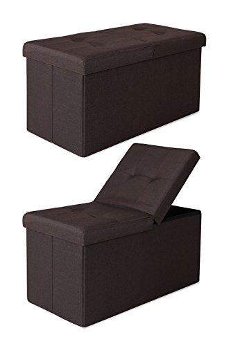 dibea SO00477, Sitzhocker Leinen, Sitzbank mit Klappdeckel, 76 x 38 x 38 cm, braun