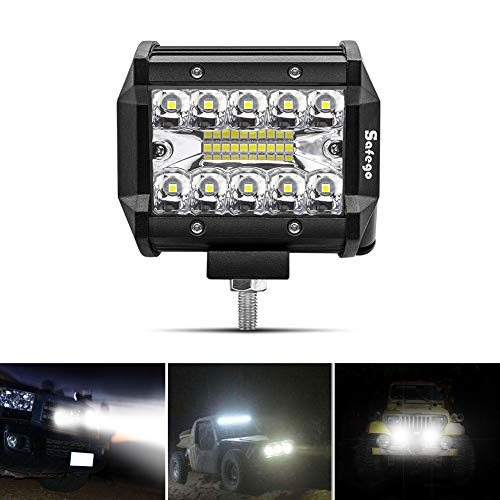 """Safego 4\"""" 60W Faro da Lavoro Luce Barra 1260LM Faretto a LED Impermeabile IP67 Fendinebbia Luci per Off Road Auto SUV ATV Camion Barca Mining Spotlight 12V 24V, 1 anno di Garanzia"""