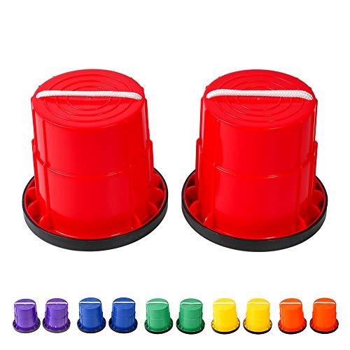 HAPPYMATY Topfstelzen für Kinder rutschfeste Stelzen mit Gummirand Verdickte Kunststoff Laufdollis Kindersport Kindergarten Eimerstelzen