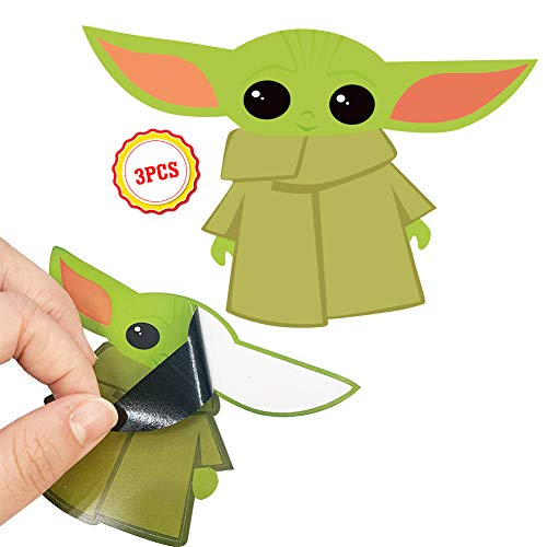 QSUM Baby Yoda - Cute Green Baby Alien - Vinyl Decal Stickers - for Car, Refrigerator, Luggage, Vehicle, Window, Bumper, Laptop, MacBook, Locker (3 Pcs,8cm x 12cm)