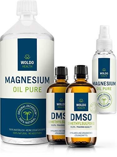 Magnesiumöl Zechstein & DMSO Dimethylsulfoxid 99.9{c795c312f2c94178dd5b8e3150aef047a02cb3f1fbe25fb7c6ec7e4879457aaf} Reinheit - 1.000ml Magnesium Öl inkl. Spray und 2x 100ml DMSO in pharmazeutischer Qualität