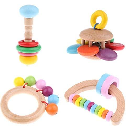 4pcs Bebé Traqueteo De Madera Bell De Mano Que Agarra El Juguete Educativo del Traqueteo para Los Niños