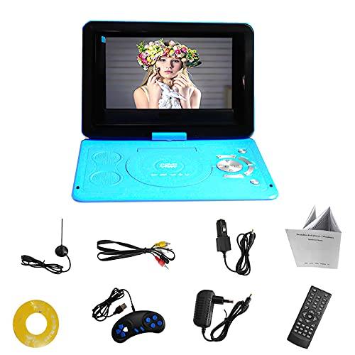 Reproductor de DVD portátil de 13.9in con reproductor de DVD de 270 grados giratorio, alta definición, TV, reproductor de vídeo con CD, antena mando a distancia, 100 – 240 V, color azul