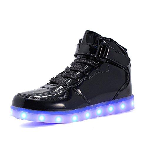 High-top LED Leuchtend Bunte Sneaker 7 Farbe USB Aufladen Leuchtschuhe Beiläufige Kinderschuhe Blinkschuhe Sportschuhe für Jungen Mädchen Kinder Geburtstag Weihnachten Halloween Ostern Geschenke