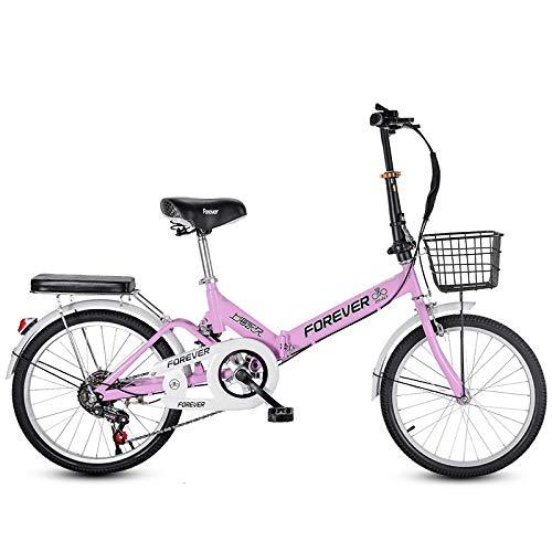 Mujeres 6 Velocidad Bicicleta Plegable,20 Pulgadas Bicicleta Plegable Ligero Pequeño Bicicleta Commuter Alto Carbono Amortiguación Bicicleta De La Ciudad para Adultos Estudiantes-A-Rosa 20inch