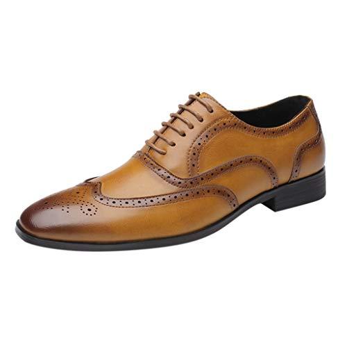 FNKDOR Schuhe Herren Klassisch Oxford Brogue Lederschuhe Casual Business-Schuhe Berufsschuhe Elegant Anzugschuhe Gelb 39 EU