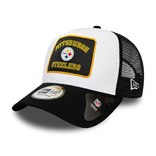 New Era Pittsburgh Steelers A Frame Adjustable Trucker Cap Graphic Patch White/Black - One-Size