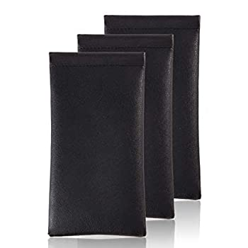 Squeeze Leather Sunglasses Pouch - 3 Pack Spring Storage Glasses Pouch Holder  Black