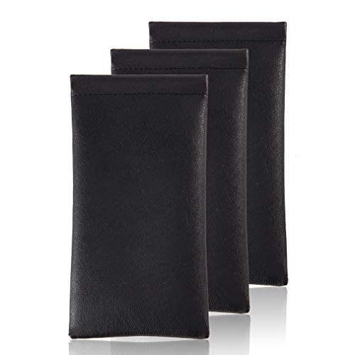 Squeeze Leather Sunglasses Pouch - 3 Pack Spring Storage Glasses Pouch Holder (Black), Eyeglasses Case Sleeve