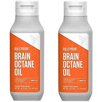 Bulletproof Brain Octane C8 MCT Oil from Coconut Oil, 16 Fl Oz Each, Provides Mental and Physical Energy, Keto and Paleo Friendly, 2 Pack