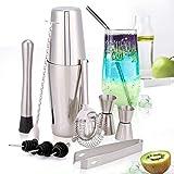 HALOVIE Cocktail Shaker, 10 teiliges professionelles Cocktail Set, Cocktailshaker Edelstahl Cocktail Kit 700ML Cocktail Shakers Bar Zubehör Boston Shaker Mixer für Getränkemischen Geschenkset