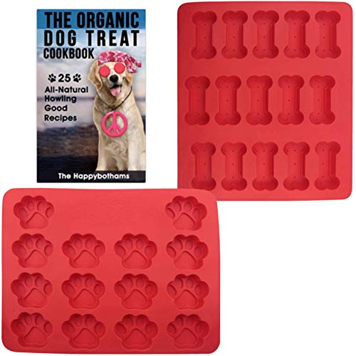 Dog Paw and Bone Mold and Recipe Gift Set | Food Grade Silicone Baking Molds for Puppy Snacks | Physical Cookbook with 25 Organic Recipes for Homemade Dog Treats