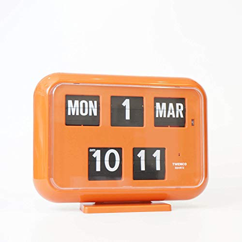 Twemco Flip Clock Retro Kalender Wand Flip Uhr QD 35 (Orange)