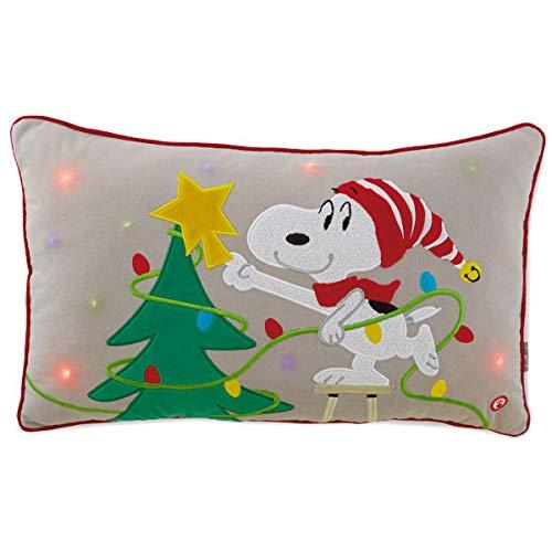 HMK Peanuts Snoopy Decorating Christmas Tree Light-Up Pillow, 20.5x13