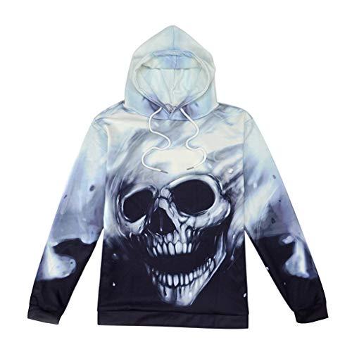 Sweat à Capuche Unisexe 3D Crâne Imprimé Pull Homme Manches Longues Décontracté Sportif Sweat-Shirts Hiver Hoodie Pochette (Noir, M)