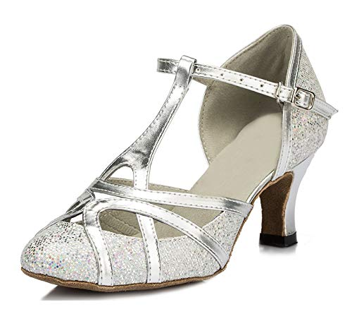 Minitoo qj6133Damen Geschlossen Zehen High Heel PU Leder Glitzer Salsa Tango Ballsaal Latin t-strap Dance Schuhe, Silber Silver-6cm Heel.5,37.5 EU/5 UK