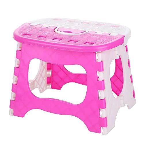 jjh Silla plegable de plástico ligero multifunción taburete plegable portátil al aire libre camping senderismo picnic playa silla para adultos niños sillas plegables para exterior (color: rosa)