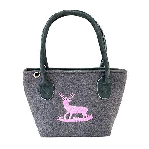 Graue Trachten-Handtasche Dirndltasche aus Filz mit Wild-Leder und rosa Stickerei Hirsch