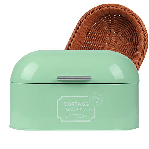 Luwxio Bread Box for Kitchen Countertop - Metal Vintage Bread Storage Container with Bread Basket, Green