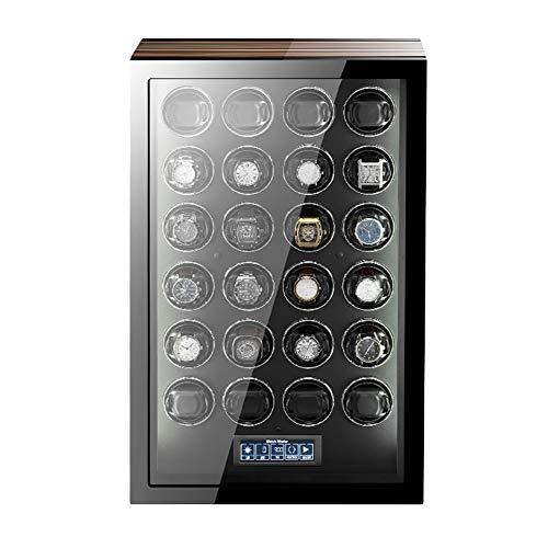 ZNND Mira La Cuerda para Relojes Automáticos Pantalla LCD Táctil con Mando A Distancia Acabado Piano Concha Madera Motor Silencioso (Size : 24+0)