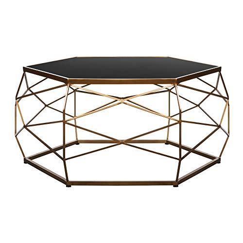 PARADISE-HOMESTORE Glass Top Geometric Coffee Table- Super Luxurious High End Coffee Table