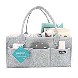 HIFELTY Diaper Caddy Organizer, Baby Diaper Basket Nappy Tote Bag Nursery Essentials Portable Storage Bin with Sturdy Handle for Changing Table, 15x10x7 in – Ideal Gift for Infant to Toddler Boy Girl