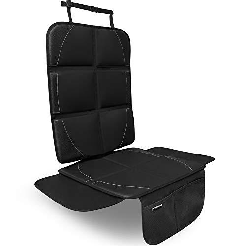 KINDHAFT hochwertiger Autositzschoner (schwarz) - Extra dick gepolsterte Kindersitzunterlage - Autositzauflage hervorragend geeignet für ISOFIX Kindersitze