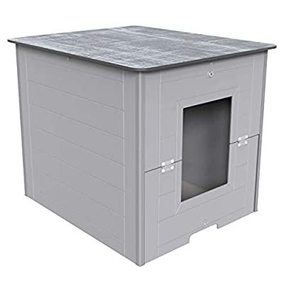 Palram Charlie Outdoor Cat Litter Box Furniture Hidden Shelter, Pet House End Table, Modern Kitty Cabinet Enclosure, Magnetic Door Latch, Grey