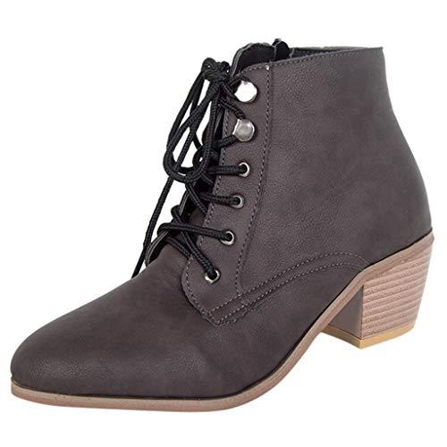 Xuthuly Frauen Herbst Winter Mode Vintage Einfarbig Quadratische Absätze Keil Stiefeletten Damen Klassische Freizeit Kreuz Lace-up Einzelnen Schuhe